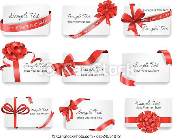 cartões, ribbons., vermelho, presente, festivo - csp24554072