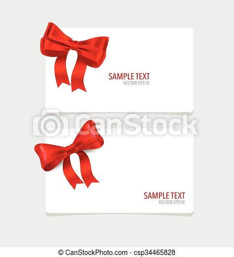cartões, vermelho, ribbons. - csp34465828