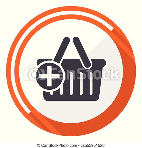 Cart flat design vector web icon. Round orange internet button isolated on white background. - csp55951520