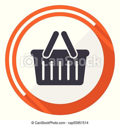 Cart flat design vector web icon. Round orange internet button isolated on white background. - csp55951514