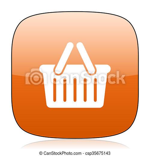 cart orange square web design glossy icon - csp35675143