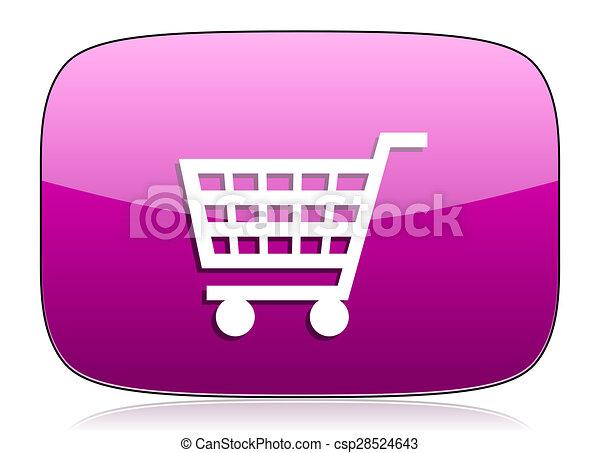 cart violet icon shop sign - csp28524643