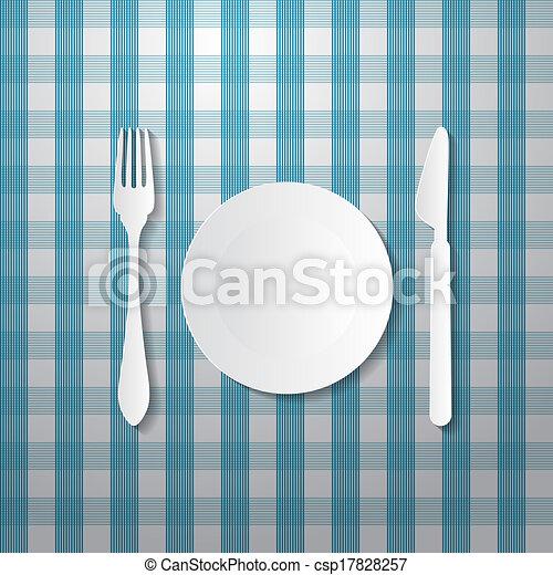 carta, blu, coltello, piastra, forchetta, fatto, tovaglia - csp17828257