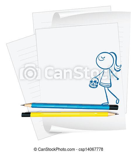 carta, cesto, ragazza, fiore, presa a terra - csp14067778