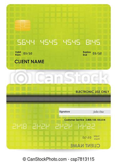 carta credito, vettore, indietro, fronte - csp7813115