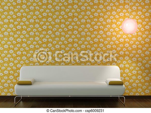carta da parati, divano, fiorito, disegno, interno, bianco - csp6009231