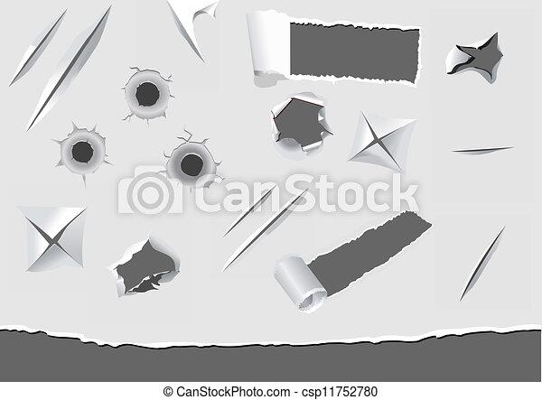 carta, danneggiato, set, torned, elementi - csp11752780