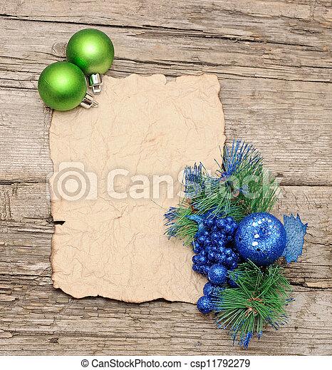 carta, decorazioni, palla natale - csp11792279