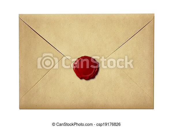 carta, estampilla, cera, sobre, aislado, sellado, sello, correo, blanco, o - csp19176826