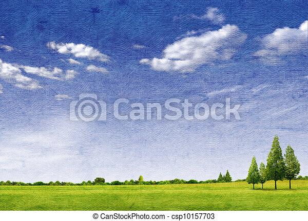 carta, paesaggio, struttura, bello, campo, forrest, azzurro cielo, albero verde, erba - csp10157703