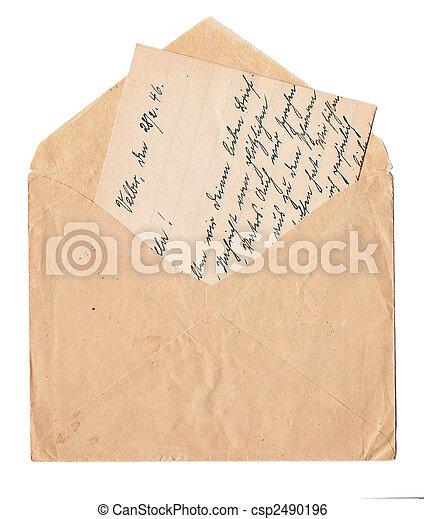 carta vieja, manuscrito - csp2490196