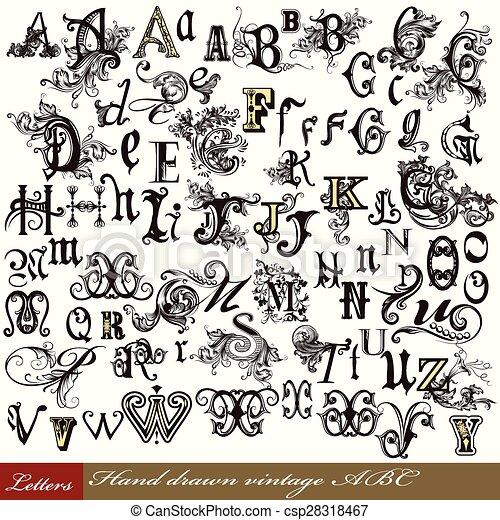 Un conjunto de letras antiguas del alfabeto inglés dibujado a mano cartas de remolino - csp28318467