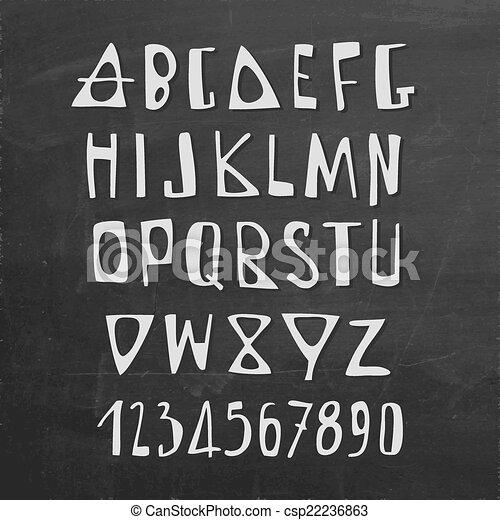 Cartas de alfabeto en inglés dibujadas a mano - csp22236863