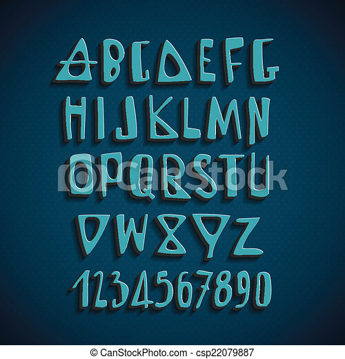 Cartas de alfabeto en inglés dibujadas a mano - csp22079887