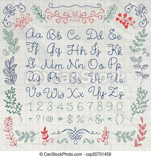 Cartas de alfabeto dibujadas en inglés y números en papel - csp30701459