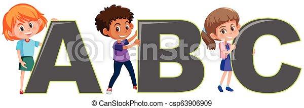 Niños con letras inglesas - csp63906909