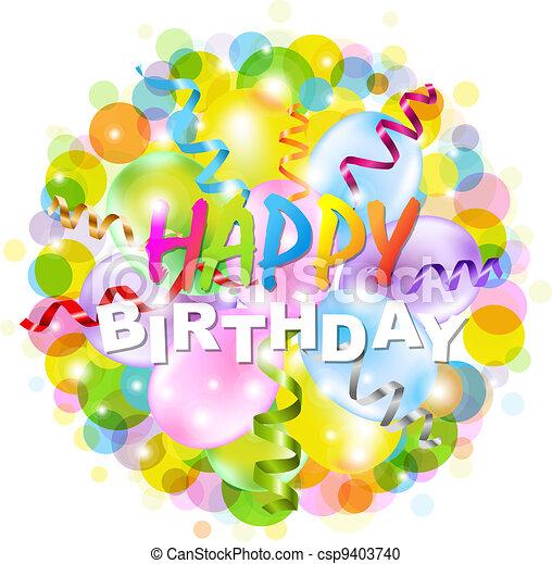 cartaz, bokeh, aniversário, feliz - csp9403740