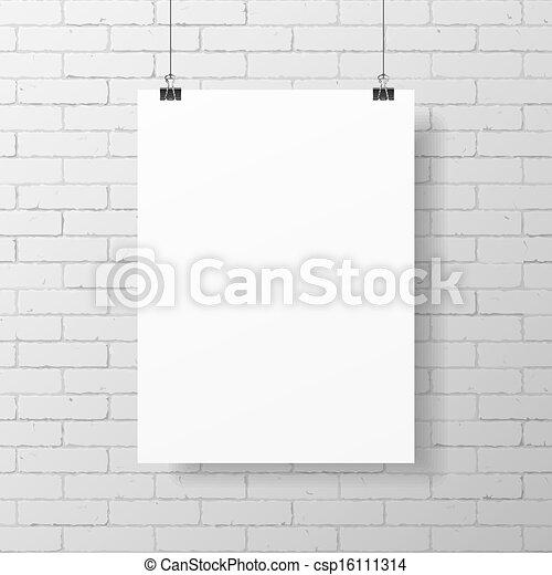 cartaz, branca, em branco - csp16111314