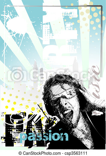 cartaz, dj, fundo - csp3563111