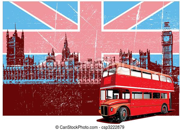cartaz, estilo, inglês - csp3222879