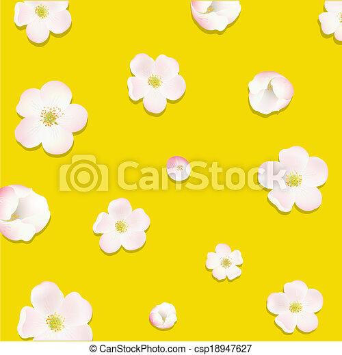 cartaz, flores, árvore, maçã - csp18947627
