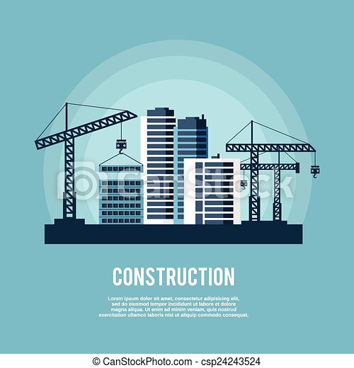 cartaz, indústria, construção - csp24243524