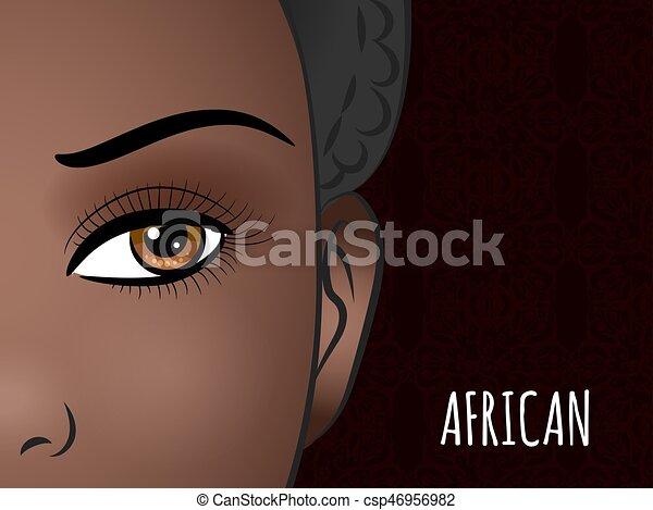 Cartaz Mulher Desenho Africano Rosto Decorativo Mulher