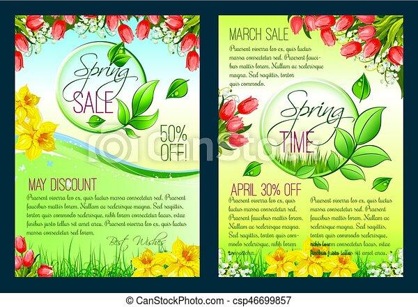 Cartaz Primavera Venda Desconto Voador Modelo Floral