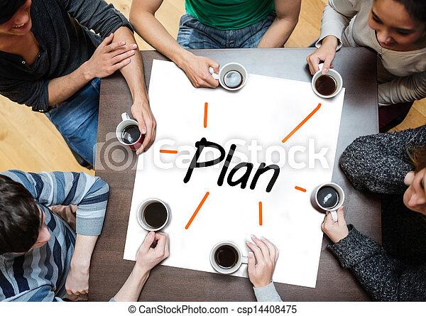 cartaz, sobre, brainstorming, wi, equipe - csp14408475