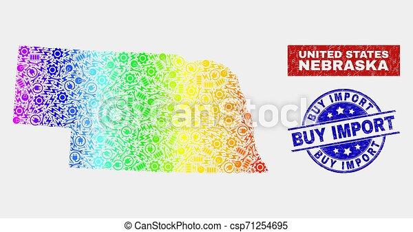 carte, achat, grunge, coloré, état, production, timbres, nebraska, importation - csp71254695