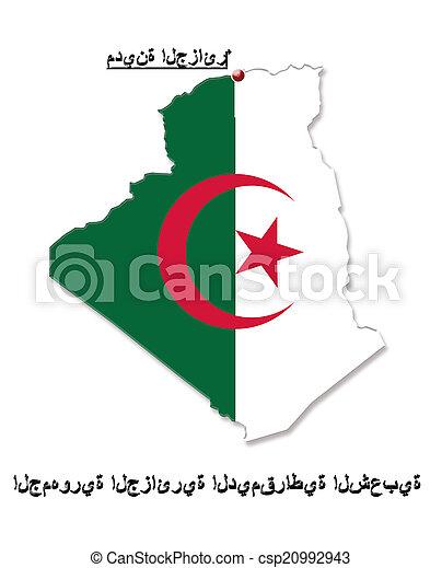 Carte Algerie En Arabe.Carte Algerie Couleurs Drapeau Arabe Sien