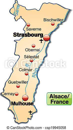 Carte Alsace Colmar Strasbourg.Carte Alsace