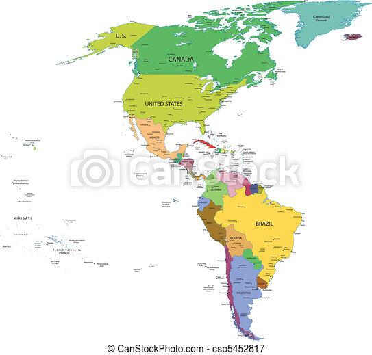 carte, amérique, sud nord - csp5452817