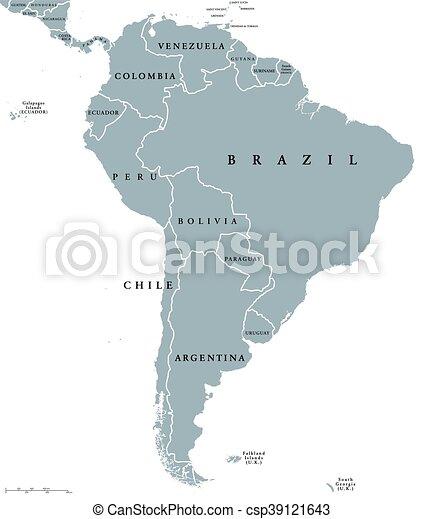 carte, amérique, sud, pays - csp39121643