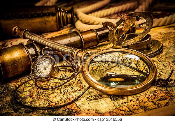 carte, ancien, mensonges, vendange, verre, mondiale, magnifier - csp13516556