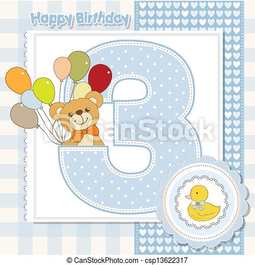 carte, anniversaire, anniversaire, troisième - csp13622317