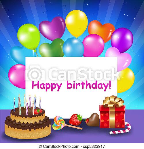 carte anniversaire, heureux - csp5323917