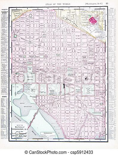 carte antique, dc, usa, couleur, rue, washington - csp5912433