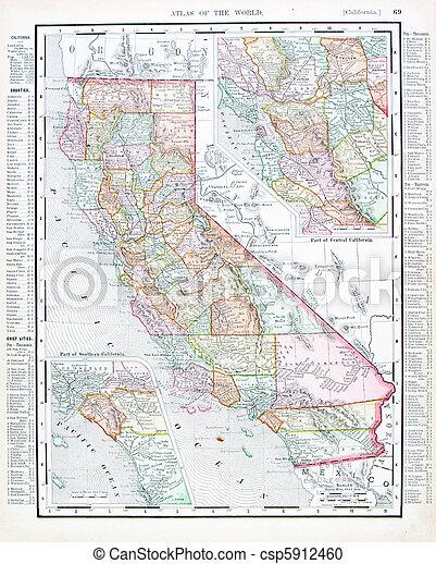 carte antique, uni, usa, couleur, etats, californie - csp5912460