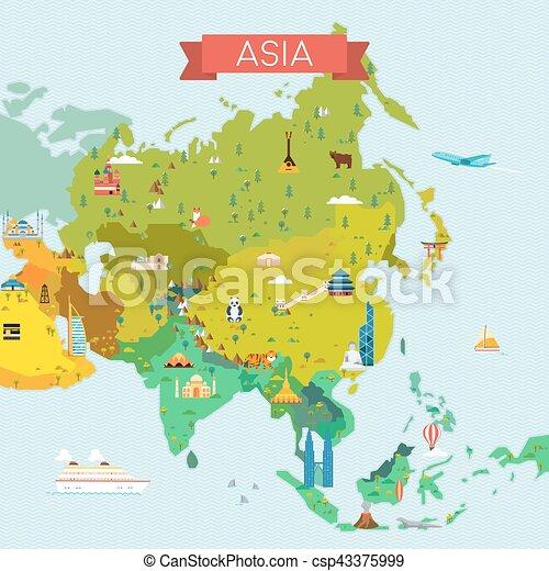 Carte Touristique Asie.Carte Asie