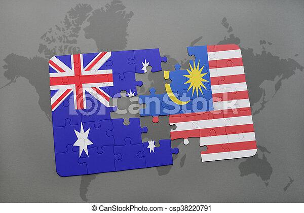 Carte Australie Malaisie.Carte Australie Arriere Plan Puzzle Drapeau Malaisie Mondiale National