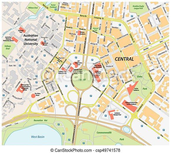 Carte Gps Australie.Carte Australie Central Canberra Vecteur Route