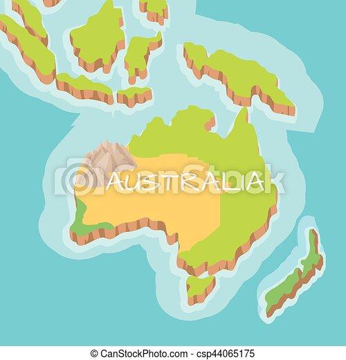 Carte Topographique Australie.Carte Australie Continent Vecteur Soulagement Dessin Anime
