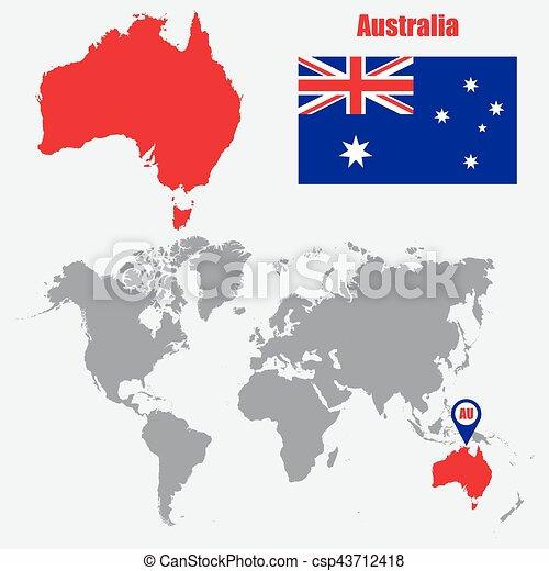 Carte Australie Drapeau.Carte Australie Illustration Drapeau Vecteur Pointer Mondiale