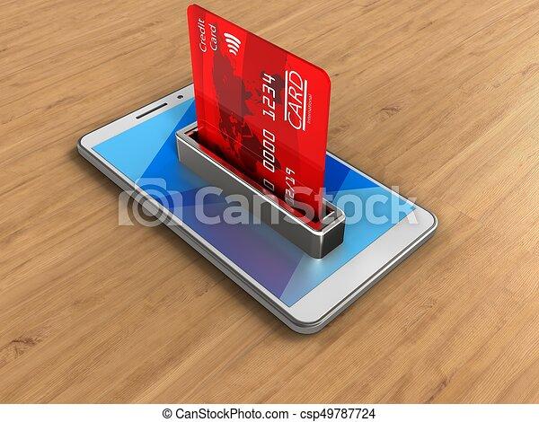 Carte Bancaire Sur Telephone.Carte Bancaire 3d Bois Sur Illustration Banque Telephone Fond