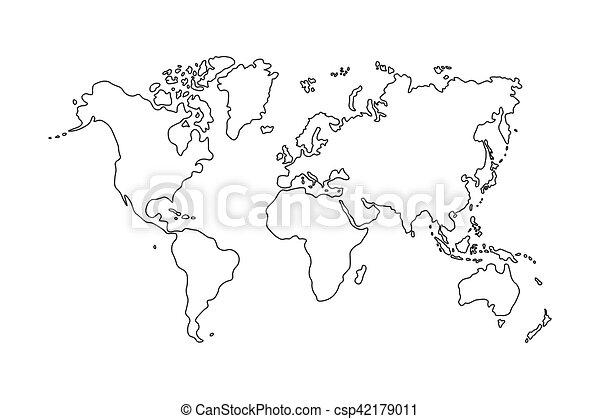 Carte blanc contour fond mondiale clipart vectoris - Mappa del mondo contorno ks2 ...