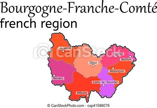 Carte Bourgogne Blanc.Carte Bourgogne Franche Comte Region Francais Carte Region