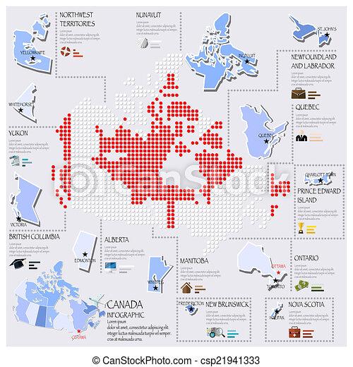carte canada, drapeau, infographic, conception, point - csp21941333