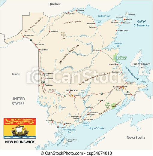 Carte Canada Nouveau Brunswick.Carte Canada Province Drapeau Atlantique Nouveau Brunswick Route