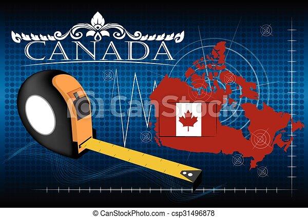 carte canada, vector., règle - csp31496878